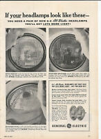 Vintage 1957 General Electric All Weather Headlamps Original Magazine Print Ad