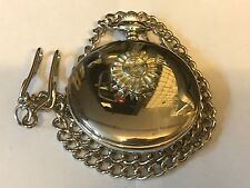 Sun Face TG172 Pewter on a Silver Pocket Watch Quartz fob