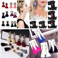 Vogue Women Shiny Rhinestone Tassel Dangle Ear Stud Statement Earrings Jewelry
