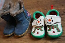 Girls Size 6 Next Blue Zip-Up Boots and Clarks Velcro Snowman Slippers