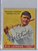 Babe Ruth 1933 Goudey Big League Chewing Gum Reprint Baseball Card