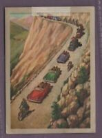 Caravan Of Cars Accompanying Tour De France Bicycle Racers Vintage Ad Card