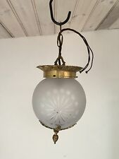 Vintage early 20th C Etched  Glass & Brass Small Ceiling Light