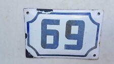 Enamel porcelain number 69 street house sign # 69  vintage