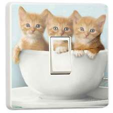 Cute Kawaii Cat Kittens Single Light Switch Sticker vinyl cover skin by stika.co