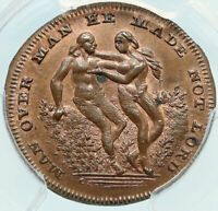 1790 ENGLAND UK Middlesex Spence's Adam & Eve KING BULL Conder Token PCGS i84004