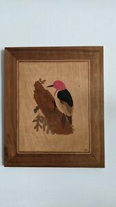 American Marquetry Folk Art: Red Headed Woodpecker Bird Raymond Gladden Sr SC