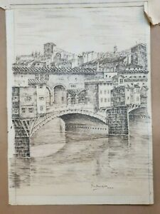 Antique Engraving Print of Il Ponte Vecchio signed Fra Benedetto OBO FREE UK P&P
