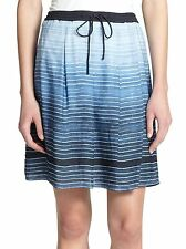 Vince XL Skirt Ombre Silk in French Blue Striped Mini Pleated Lined