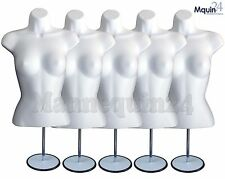 5 Mannequin Female Torsos -Lot - 5 White Dress Dress Forms w/5 Stands +5 Hangers