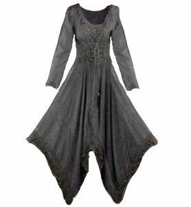 Gothic Mittelalter Hippie Ethno Maxi Kleid Zipfel 34 - 36 / 38 grün rot schwarz