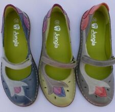 Jungla Ladies Leather Shoes Green, Blue or Grey Combi Style 4096
