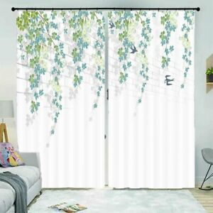 Blue Green Curved Leaf 3D Curtain Blockout Photo Printing Curtains Drape Fabric