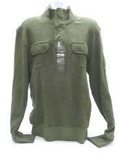 DITCH PLAINS MENS LARGE 1/4 BUTTON HENLEY in OLIVE GREEN - NWT