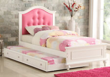 Youth Kids Teen Bedroom White Wood Twin Bed w/ Trundle Pink PU Tufted Headboard