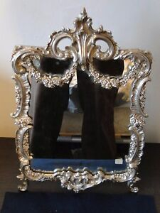 VANITY MIRROR ANTIQUE FRENCH 1850 CAST BORDER SILVER PLATED, BEAUTIFUL QUALITY