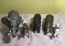 Zoo Safari Animals Lot of (5) Figures Jungle Wild Pretend Play Toy Plastic