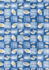 White Daisy Blue Check Country Vinyl Contact Paper Shelf Drawer Liner Peel Stick