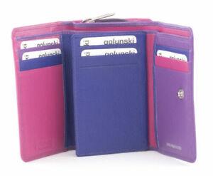 Golunski leather trifold purse Style 883 M8  Col Pink/purples   Multi RFID  New