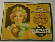 Vintage Paradise Hair Net 1940's USA Real Hair Cap Shape Dark Brown
