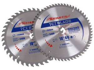 """Pack of 2  -  10 """" - 254 mm TCT Saw Cutting Discs / Blades 40 and 60 Teeth"""