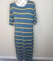Lularoe Julia Striped Long Maxi Dress Sz 3XL Short Sleeve Stretch Green/Yellow