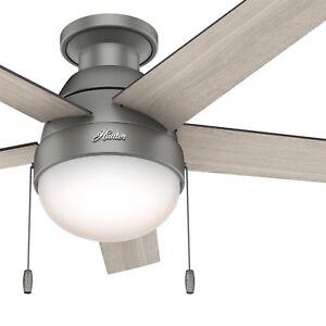 Hunter Fan 46 inch Low Profile Matte Silver Fan w/ Light Kit & Remote Control