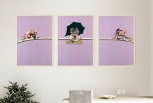Francis Bacon Set of 3 Posters, Studies of Human Body, Triptych, Wall Art Print