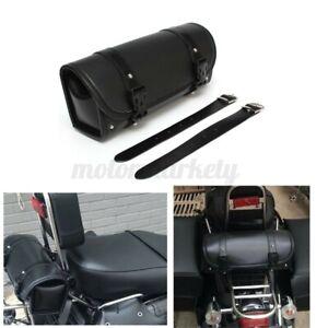 Waterproof Black Motorcycle PU Leather Tool Bag Luggage Saddlebag Roll Barrel