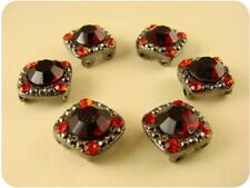 "2 Hole Beads ""Gala"" Red Siam 8mm Swarovski Crystal Elements ~ Sliders QTY 6"
