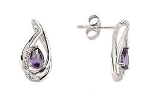 Amethyst Earrings Silver Stud Sterling Silver Studs Platinum Plated