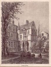 France une vue de l'Hôtel Cluny gravure ancienne 1880 / GF10