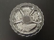 "12"" Intaglio Cut Glass Divided Dish Bowl Fish Olives Celery Cucumber Vintage"