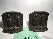 "Antique Bronze Bookends ""The Angelus"" Millet Farmer & Wife Praying at Harvest"