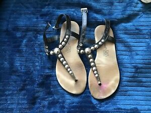 Black with silver metal bubble design Sandals UK Size 3