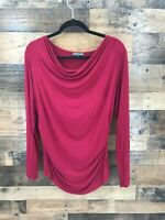 Adrianna Papell Women's Deep Red Drape Neck Rouched Sides Long Sleeve Blouse