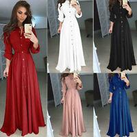 Women Casual Button Up Long Shirt Dress Long Sleeve Evening Party Maxi Dress