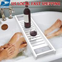 Bathtub Caddy Bamboo Bath Tub Rack Tray Bathroom Cloth Book/Wine/Phone Holder