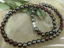 8 mm Edelstahl Hämatit Magnet Halskette 45 cm 3 farbig m.Magnetverschluss