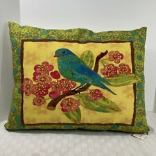 Blue Bird Floral Hammock Pillow Colorful Outdoors 22x18