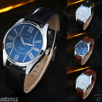 Fashion Men's Leather Stainless Steel Military Sport Analog Quartz Wrist Watches