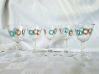 Aqua Gold MCM Atomic Starburst Cocktail Glasses Turquoise Retro Stem Mid Century