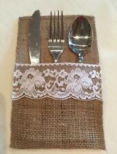50 X Hessian & Lace Cutlery Sleeve Ideal For Weddings & Gardens Burlap Rustic