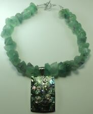 Statement Rough Fluorite Necklace & Abalone Pendant Handcrafted Sterling Silver