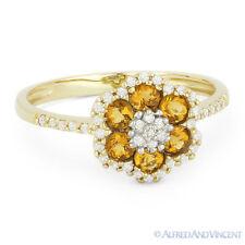 Right-Hand Flower Ring in 14k Yellow Gold 0.56 ct Round Cut Citrine & Diamond