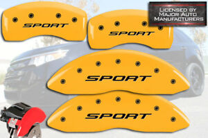 """2015-2018 Ford Edge """"Sport"""" Front Rear Yellow MGP Brake Disc Caliper Cover Bolts"""