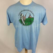 Vintage 80s Boys Scouts BSA Four Rivers Council Camp Roy C Manchester T Shirt