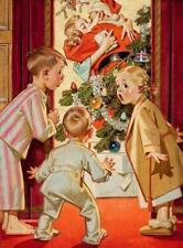 CHRISTMAS, RETRO, MUMMY KISSING SANTA CLAUS, FRIDGE MAGNET