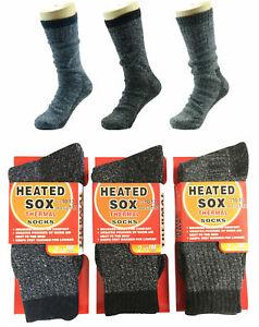 3 / 6 Prs MEN MENS Thick Winter Warm Thermal HEATED Heat Cushion WORK SOCKS Bulk