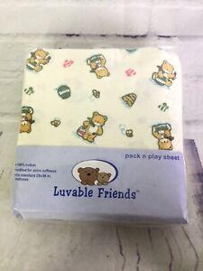 Luvable Friends Pack N Play Sheet Tan Teddy Bear Honey Bees Knit Cotton Unisex